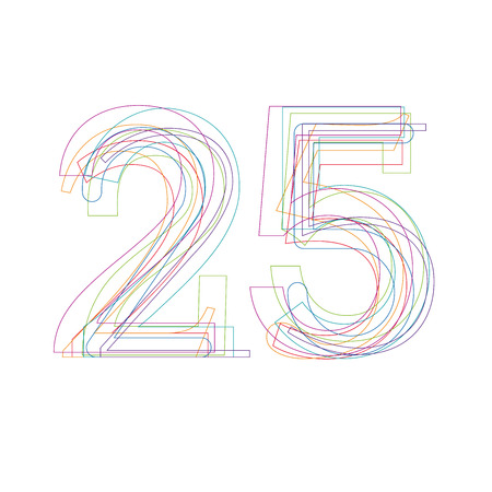 25: number 25 in outline Illustration