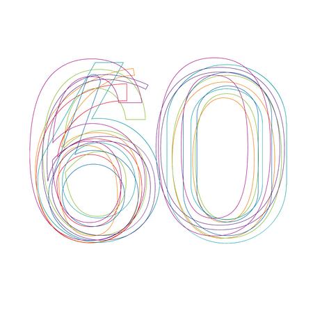 60: number 60 in outline Illustration
