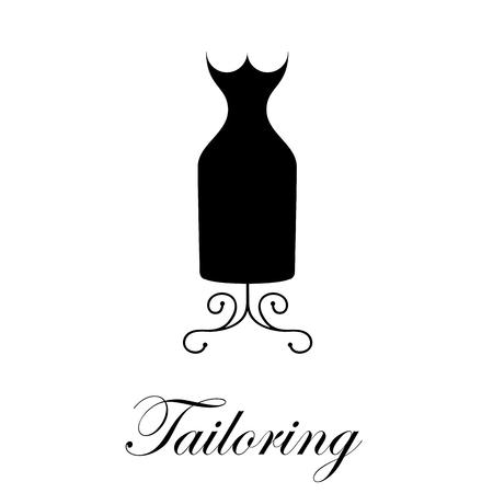 mannequin: Signe vecteur couture. Mannequin avec une robe noire
