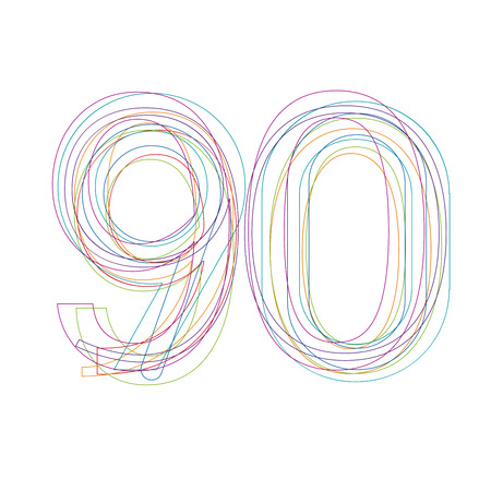 90: number 90 in outline
