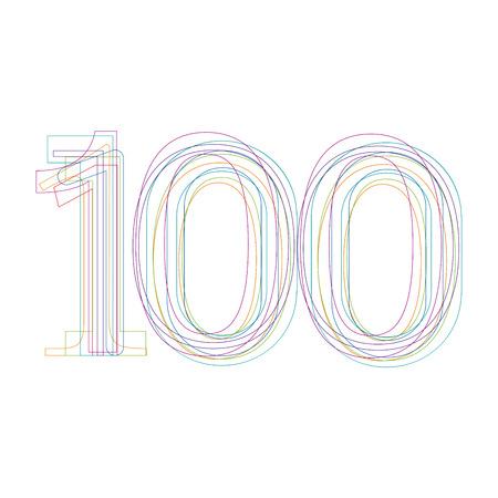 hundred: number 100 in outline