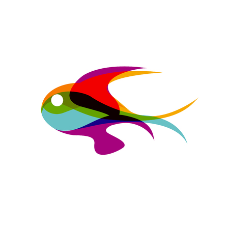 frozen fish: Vector sign abstract colorful fish