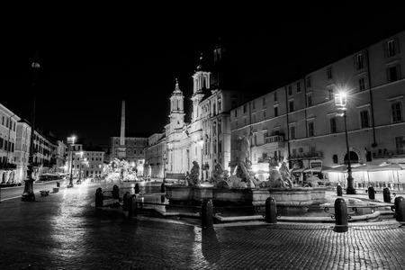 navona: Night view, Piazza Navona, Rome. Italy