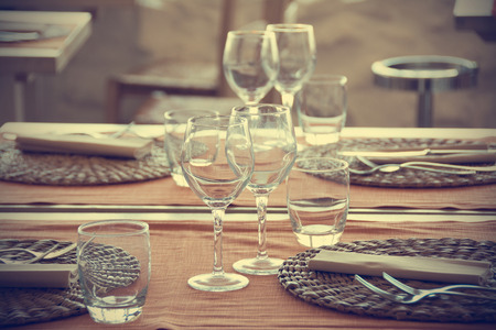 wine and dine: Vintage table set Stock Photo