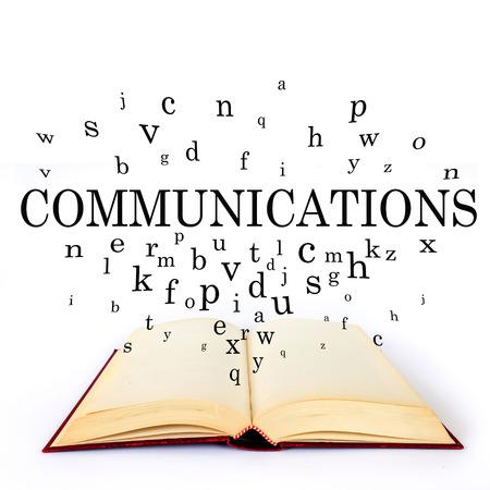 通信: 通信、フライングの手紙が付いている本の単語