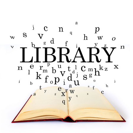 Library, word on the book with letters flying
