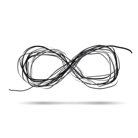 Vector segno scarabocchio infinito