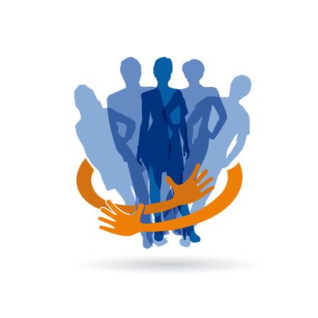 safely: Vector sign Safe Teamwork
