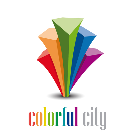 building trade: Vector abstract  colorful city Illustration