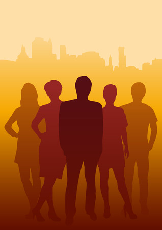 office team: Vector Teamwork in the town,  background in orange