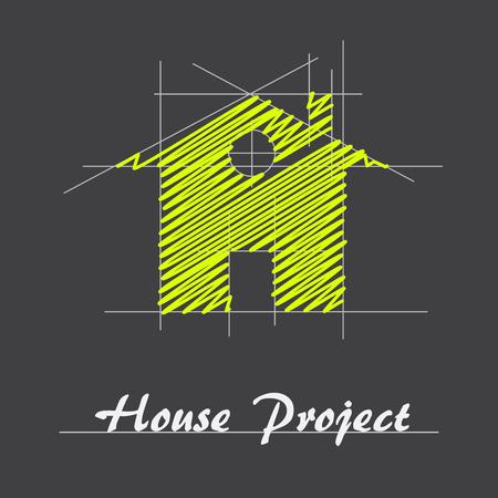 Wektor dom Project Sign Ilustracje wektorowe