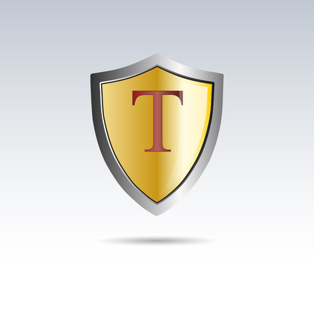 initial: Vector shield initial letter T Illustration