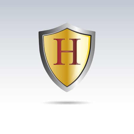 initial: Vector shield initial letter H Illustration
