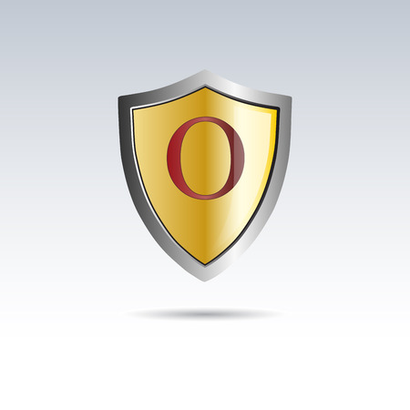 initial: Vector shield initial letter O