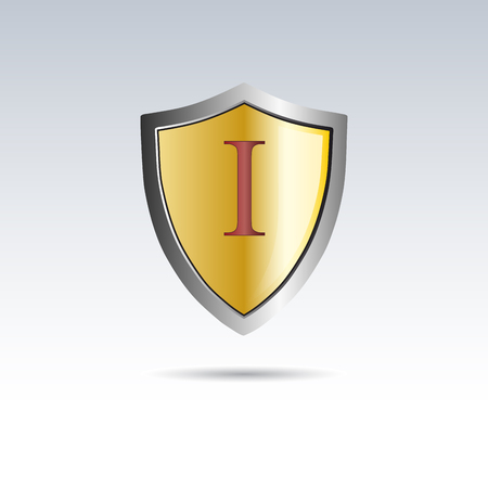 Vector shield initial letter I