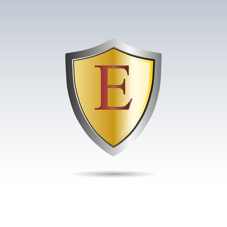 initial: Vector shield initial letter E