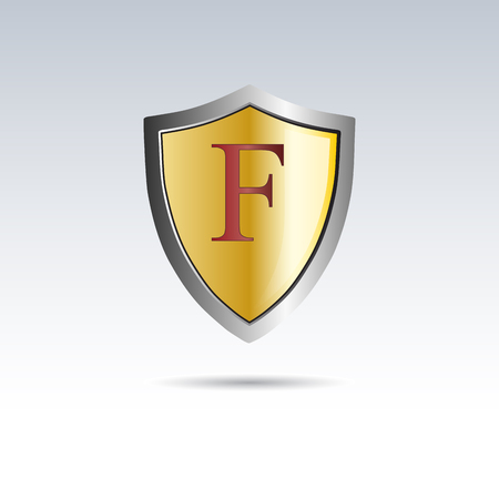 initial: Vector shield initial letter F Illustration