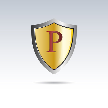 initial: Vector shield initial letter P