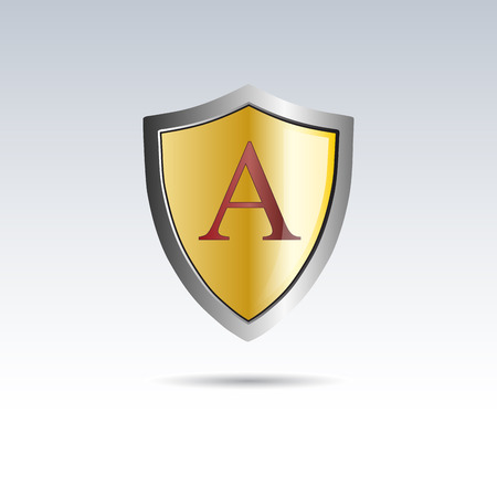 initial: Vector shield initial letter A