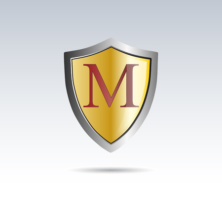 initial: Vector shield initial letter M
