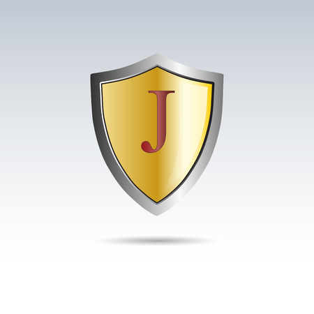 initial: Vector shield initial letter J Illustration