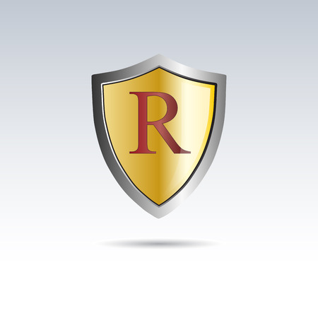 initial: Vector shield initial letter R