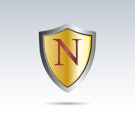 initial: Vector shield initial letter N