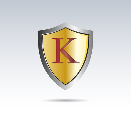 initial: Vector shield initial letter K