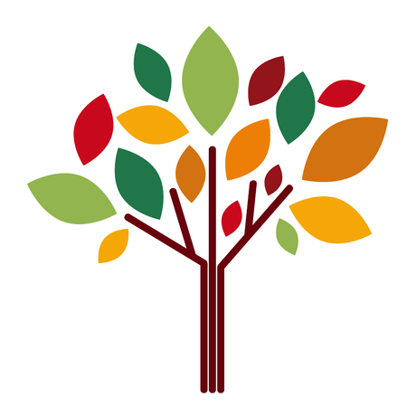simplified: Vector abstract autumnal tree