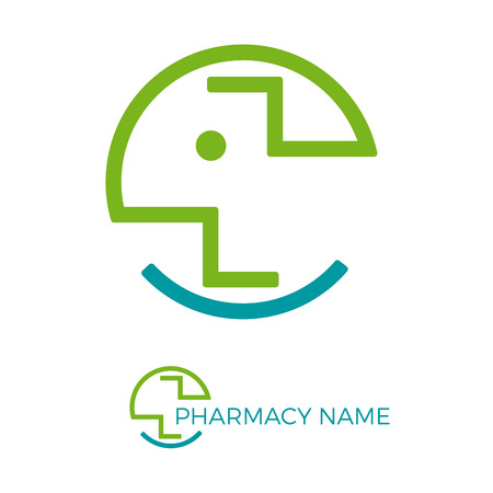 pharmaceutical company: Vector sign abstract pharmacy with face Illustration