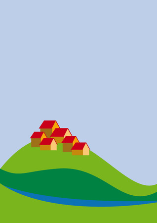 country life: Vector illustration town on country Illustration