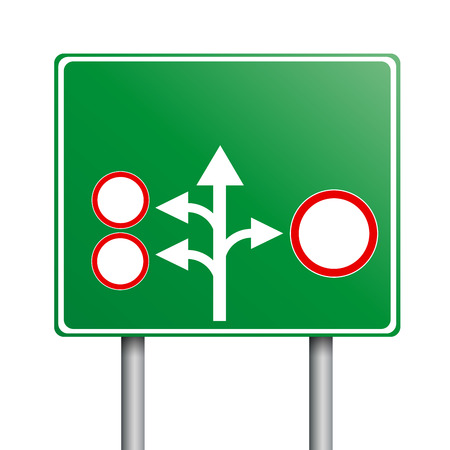 solutions freeway: empty green road signs Illustration