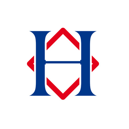 initial: Vector sign initial letter H with rhombus