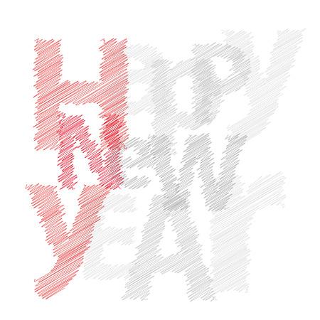 happy new year text: Text Happy New Year scrawled Illustration