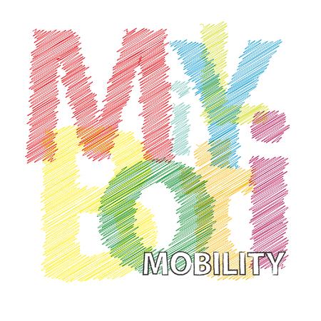 Vector mobiliteit. Broken tekst gekrabbeld Stockfoto - 56505622