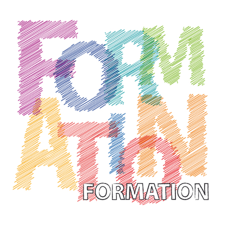 formation: Vector formation. Broken text scrawled
