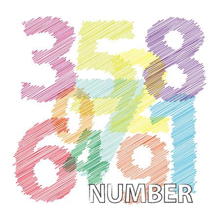 numbers: Vector numbers. Broken text scrawled