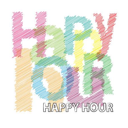 aperitif: Vector Happy hour. Broken text scrawled