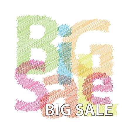 big sale: Vector big sale. Broken text scrawled