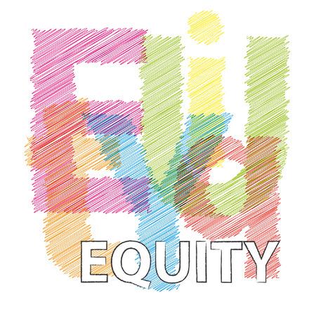 equidad: la equidad del vector. texto roto garabateó Vectores