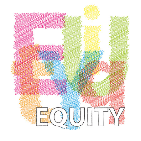 equity: Vector equity. Broken text scrawled