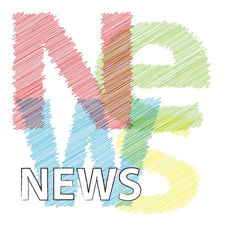 newscast: Vector News. Broken text scrawled