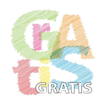 gratis: Vector Gratis. Broken text scrawled Illustration