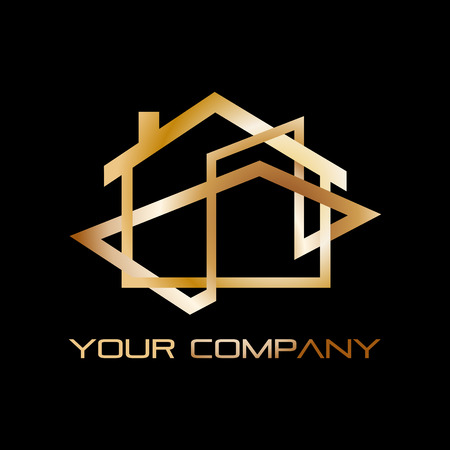 real estate agency: Vector abstract golden house, real estate agency Illustration