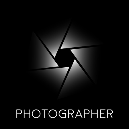 diaphragm: Abstract vector sign photographer, diaphragm on black background
