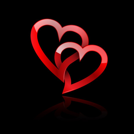 participation: Vector two twisted red hearts. Concept of eternal love