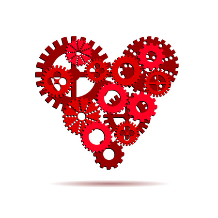 ingenuity: Vector gears, perfect heart concept