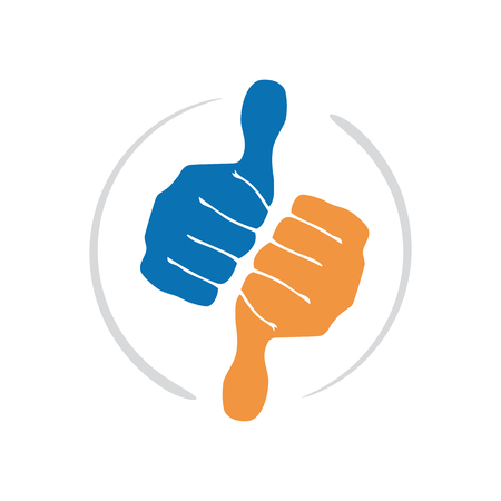 good judgment: Vector sign thumbs up and down Illustration