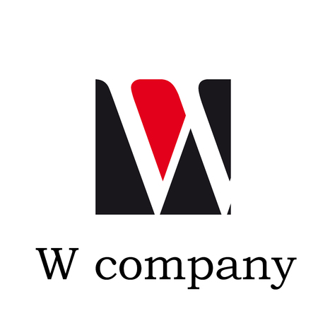 Vector icon Vector initial letter W on red and black
