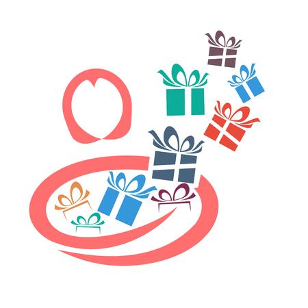 dar un regalo: Vector mujer abstracta dar un regalo